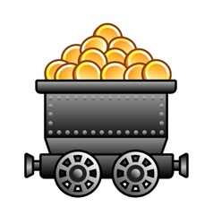 Iron mine cart with coins vector