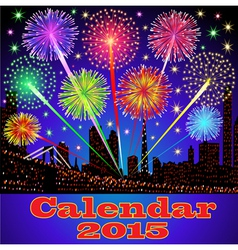 cover of calendar with fireworks vector image