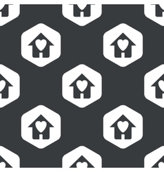 Black hexagon beloved house pattern vector