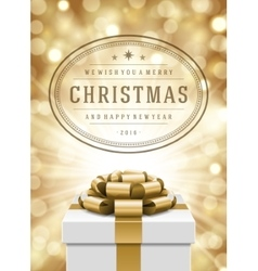 Christmas lights and typography label design gift vector
