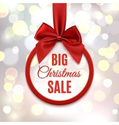 Big christmas sale round banner with red ribbon vector