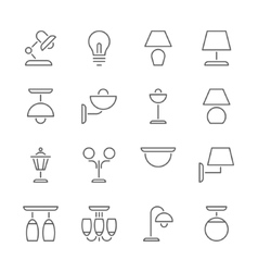 Lamp icons thin line style flat design vector