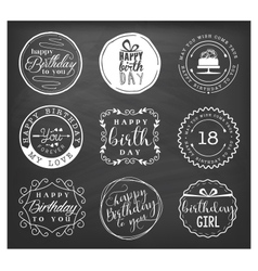Happy Birthday Greeting Card Design Elements vector image