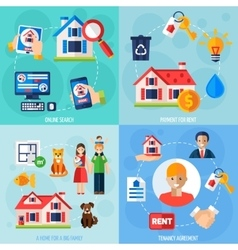 Rent and tenancy icons set vector