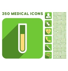 Test tube icon and medical longshadow icon set vector