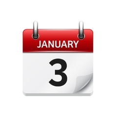 January 3 flat daily calendar icon date vector