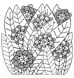 Whimsical garden adult coloring book page vector