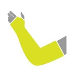 Flat icon of hand with gypsum bandage vector