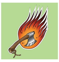 Axe on fire vector