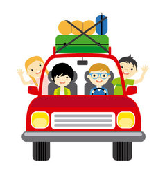 family goes on vacation traveling by car vector image