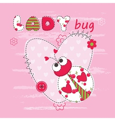 Baby background with ladybug vector image