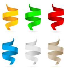beautiful colored ribbons on white background vector image vector image