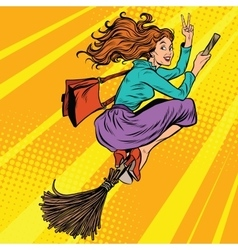 Beautiful woman witch flying on a broom vector image