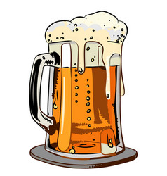 Cartoon image of foamy beer vector