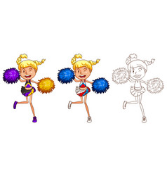 Cheerleader dancing in three different drawing vector