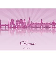 Chennai skyline in purple radiant orchid vector