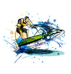 Colored hand sketch rider on a jet ski vector