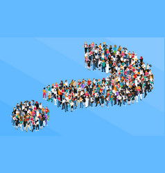 Crowd question mark isometric design concept vector