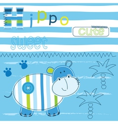 Cute baby background with funny hippo vector