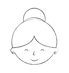 Cute grandmother head avatar character vector