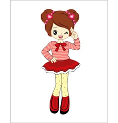 Cute little girl anime with red sweater vector