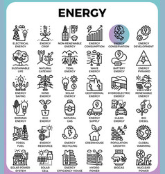 energy line icons vector image