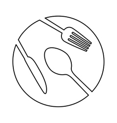 Figure plate with cutlery icon image vector