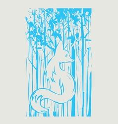 Fox and tree vector