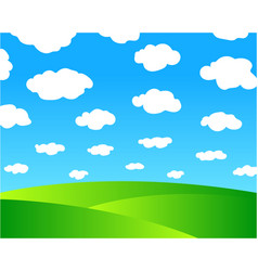 green meadows and blue sky vector image vector image
