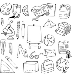 Hand draw element education supplies doodles vector
