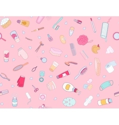 Hygiene elements pink seamless pattern vector image