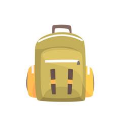 Khaki backpack classic styled rucksack vector