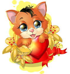 kitten and heart vector image