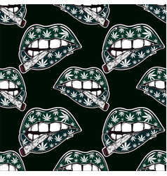 lips with weed joint cigarette seamless pattern vector image vector image