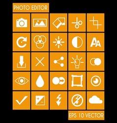 Photo editor icon set vector