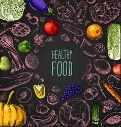 restaurant organic natural vegan food menu set vector image