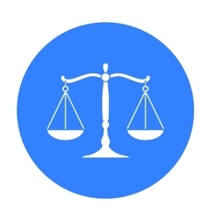 Scales of justice icon in black style isolated on vector image