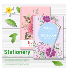 summer scene with colorful notebooks vector image vector image