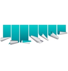 Turquoise ribbon with curled up edge vector image vector image