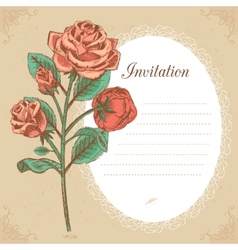 Vintage invitation card with red rose vector image vector image