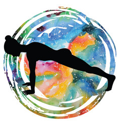 Women silhouette high plank yoga pose uttihita vector