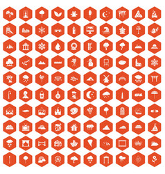 100 scenery icons hexagon orange vector