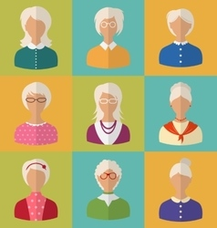 Old people of faces of women of grey-headed vector