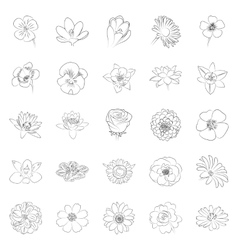 Simple black outline flower icon set vector