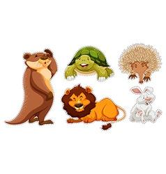 Sticker set of many wildlife vector image
