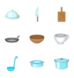 Kitchen utensils icons set cartoon style vector image