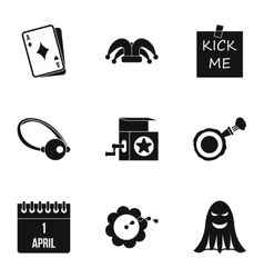 Funny joke icons set simple style vector
