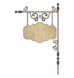 Wooden noticeboard with floral forged elements vector