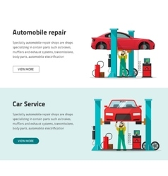 Car repair shop station banner repairman vector