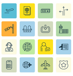 set of 16 traveling icons includes flight path vector image